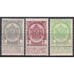 Belgium 1907 n° 81-83 used